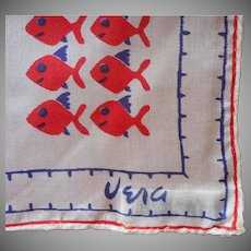 Vera Silk Neckerchief Scarf Vintage Silk Fish Print Acetate Sea Shell Sequins