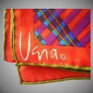 Vera Mod Plaid Long Scarf Vintage Plaid Orange Avocado Purple Green