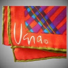Vera Mod Plaid Long Scarf Vintage Plaid Orange Avocado Purple Green