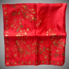 Vera Red Silk Scarf Gold Bronze Metallic Print Vintage 33 Square