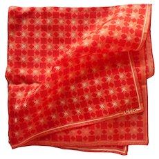 Vera Silk Neckerchief Scarf Vintage Red Coral Print