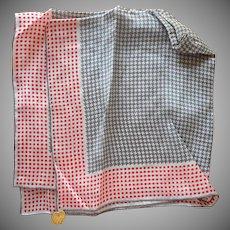 Vintage Silk Scarf Kimball Gray Red White Neckerchief Tag