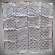 Vintage Silk Scarf Navy Blue White Neckerchief Tiny Print