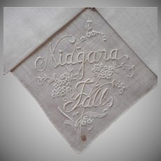 Madeira Made Niagara Falls Souvenir Hankie Unused Vintage Linen Hand Embroidery