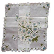 Hankie Unused Vintage Print Cotton Aqua Turquoise White Daisies