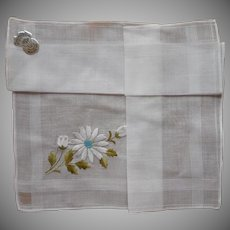 Hankie Unused Vintage Swiss Turquoise White Daisy Embroidery Label
