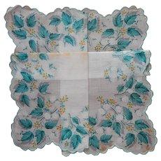Vintage Unused Hankie Aqua Turquoise Leaves Print Cotton