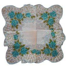 Vintage Unused Hankie Aqua Roses Print Cotton Printed Oversized