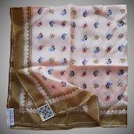 Vintage Silk Echo Scarf Unused Tags 1970s Peach Olive Print