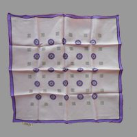 1950s Silk Neckerchief scarf Purple Print Sally Gee