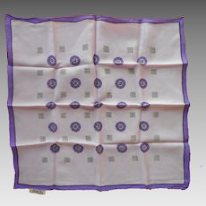1950s Silk Neckerchief scarf Purple Print Sally Gee