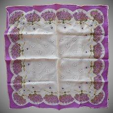 1950s Silk Scarf Violets Ballerinas Tiaras Vintage Neckerchief Purple