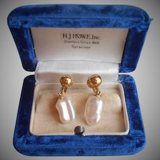 Gold Filled Earrings Clip Baroque Freshwater Pearl Drop Dangle Vintage