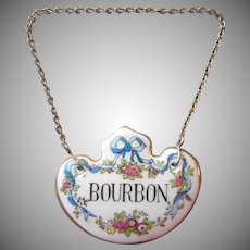 Crown Staffordshire English Bone China Liquor Tag Vintage Bourbon