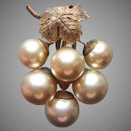 Dress Clip Vintage 1930s Big Faux Pearl Grapes Cluster Leaf