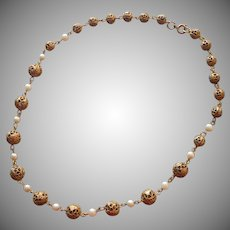 Cultured Pearls Brass Filigree Beads Necklace Vintage
