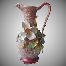 Sand Majolica Pitcher Form Vase Rose Leaves Plum Antique