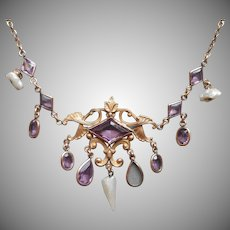 Edwardian Necklace Antique Dog Tooth Pearl Faux Amethyst Purple Glass TLC