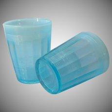 Northwood Klondyke 2 Tumblers Glasses Opalescent Blue Antique EAPG