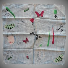 1950s Silk Neckerchief Scarf Vintage Masked Ball Masks Butterflies Fans Faux Bois