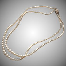1950s Faux Pearls 2 Strand Necklace Vintage Japan Graduated