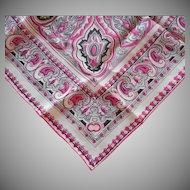 1960s Silk Scarf Neckerchief Hot Pink Black Paisley Print