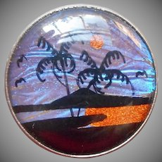 Butterfly Wing Pin Vintage Small Round Island Scene Moon Palm Trees Water
