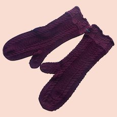 Antique Child's Mittens Wine Color Fancy Knitted