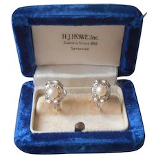 Cultured Pearls Vintage Screw Back Earrings Sterling Silver Rhodium Finish