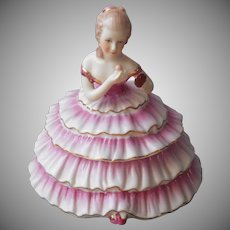 Powder Box Hand Painted Vintage Figural Girl In Pink Ruffles Marked Limoges China