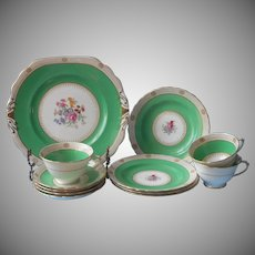 Royal Chelsea Part Dessert Service Vintage China Green Gold Hand Painted Flowers