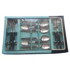 Gense Focus Deluxe Black Handles Stainless Steel Flatware In Box Vintage Sweden