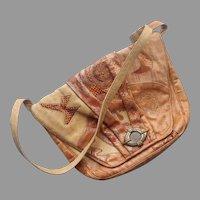 Sharif Purse Embossed Leather Faux Reptile Python Alligator Appliqued Shoulder Bag