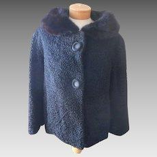 Astrakhan Jacket Mink Collar Vintage Size 12 14 16