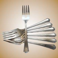 Berkeley 1929 Salad Dessert Forks Vintage Silver Plated 7