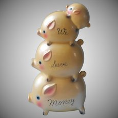 Piggyback Pigs Ceramic Bank Vintage Tilso Japan Airbrush Vintage ca 1960 Piggy