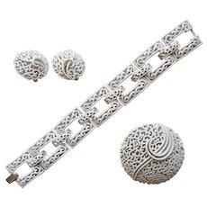 Crown Trifari Summer White Filigree Set Bracelet Pin Clip Earrings