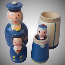 Nesting Dolls Family Sailor Wide Child Painted Wooden Poland Vintage