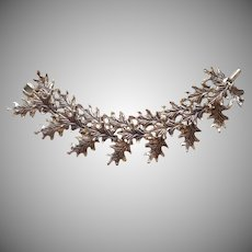 Oak Leaves Links Vintage Bracelet Antiqued Silver Tone Finish