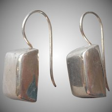 Sterling Silver Earrings Rectangular Chunky Bars Pierced Simple