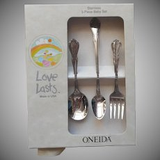 Chateau Vintage Stainless Steel Toddler Set Fork Spoon Infant Feeding Oneida Unused