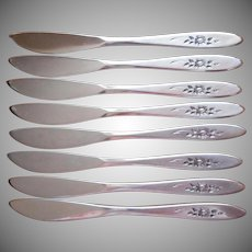 Rose Shadow Butter Spreader Knives Vintage Oneida Community Set 8
