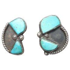 Native American Navajo Vintage Sterling Silver Turquoise Clip Earrings
