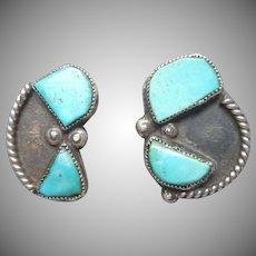 Native American Navajo Vintage Sterling Silver Turquoise Clip Earrings