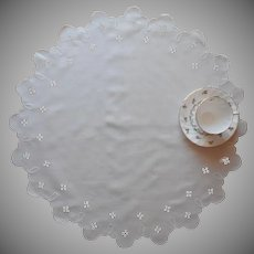 Cutwork Linen Centerpiece Antique Linen Hand Embroidered