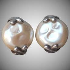 Carolee Sterling Silver Faux Pearl Clip Earrings Xs and Os