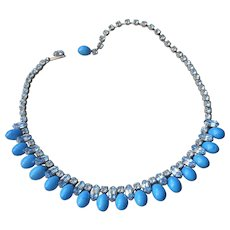1950s Necklace Blue Art Glass Drops Rhinestones Choker Vintage