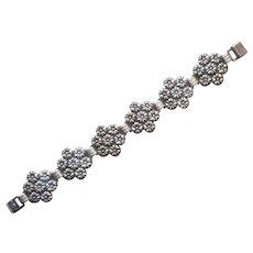 1940s Sterling Silver Bracelet Vintage Flower Clusters Links