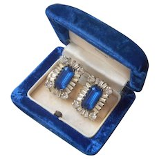 1940s Sterling Silver Vintage Earrings Faux Sapphire Blue Glass Stones Rhinestones Screw Back