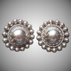 Taxco Mexico Sterling Silver Clip Earrings Classic Half Round Beaded Rims TZ 16
